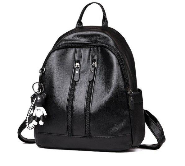 Новое поступление, женский кожаный рюкзак с защитой от кражи, школьный рюкзак,, сумка через плечо, черный, коричневый - Цвет: A