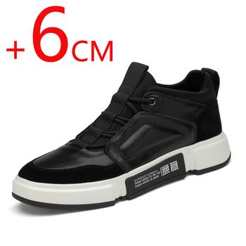 Męskie buty na koturnie męskie buty ukryte obcasy wzrost wysokości buty męskie trampki męskie buty skórzane czarne buty na wysokim obcasie tanie i dobre opinie HOMASS Prawdziwej skóry Skóra bydlęca Gumowe Wiosna jesień NONE Dla dorosłych BL66 Podstawowe Pasuje prawda na wymiar weź swój normalny rozmiar