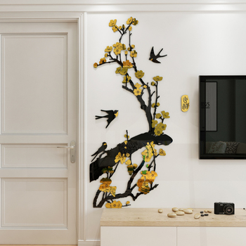 Plum flower acrylic wall stickers 3d living room porch corridor restaurant sofa TV background wall decoration Chinese style 1