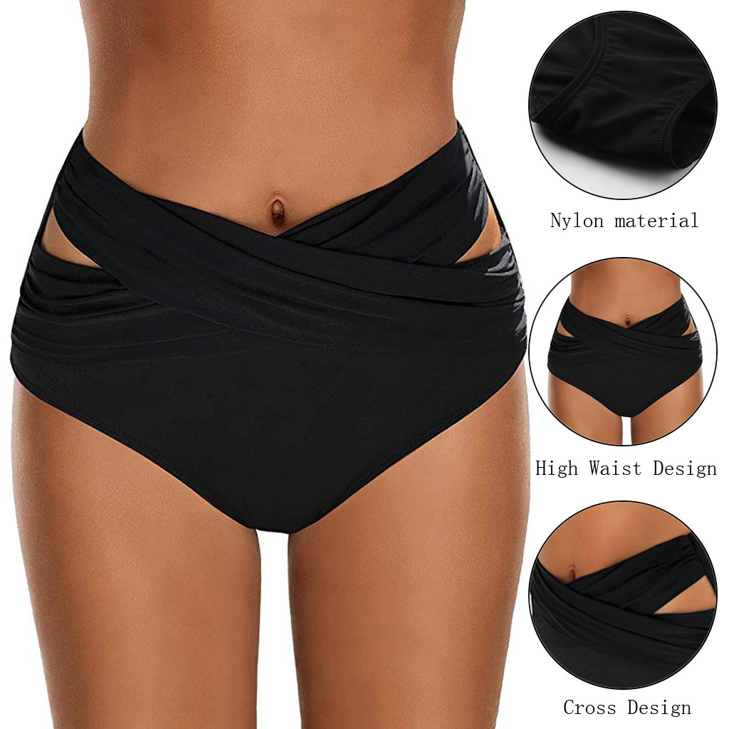 Women High Waist Ruched Bikini Bottoms Tummy Control Swimsuit Briefs Pants Swimwear Large Size Bikini 2020 mujer biquini shorts