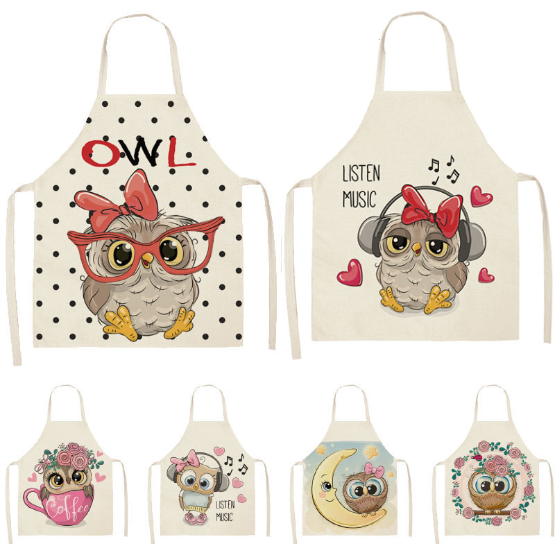 1pcs Owl Flower Printed Sleeveless Cotton Linen Apron Kitchen Brief Pinafore Women Home Cooking Baking Waist Bib 53*65cm WQL0148