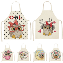 Linen Apron Pinafore Kitchen Home-Cooking Waist-Bib Flower Printed Baking Cotton Women