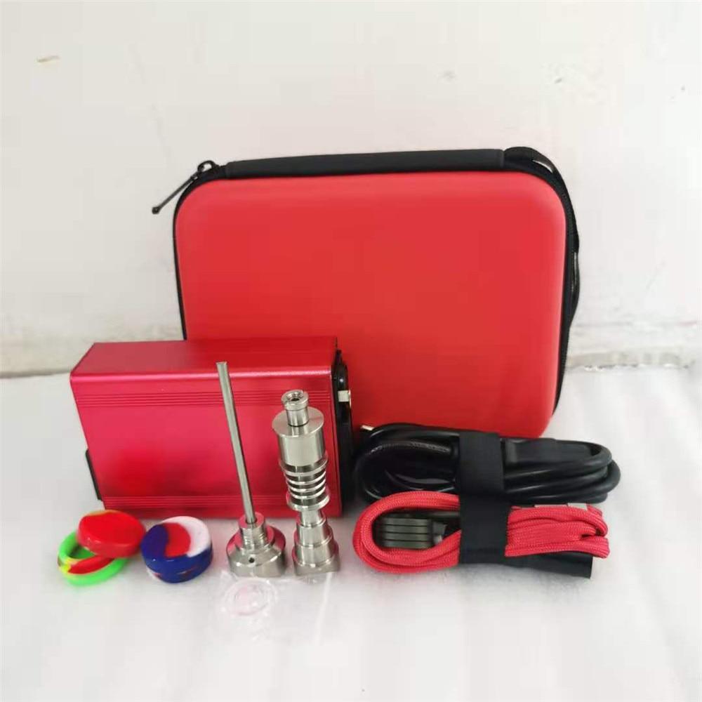Best Christmas Gift Red Enail Dab Kit Electric Dab Nail Pen Rig Wax PID TC Box with 6 in 1 Hybrid Ti&Quartz Nail for Glass Bongs 5