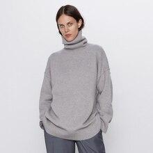 ZOEPO, свободные однотонные свитера для женщин, модный Повседневный шерстяной свитер с высоким воротом, женские элегантные свитера с длинным рукавом для женщин LK