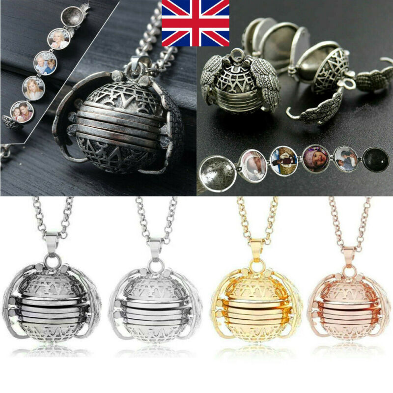 Creative Expanding 4 Photo Locket Necklace Silver Ball Angel Wing Pendant Memorial Gifts XMAS hot