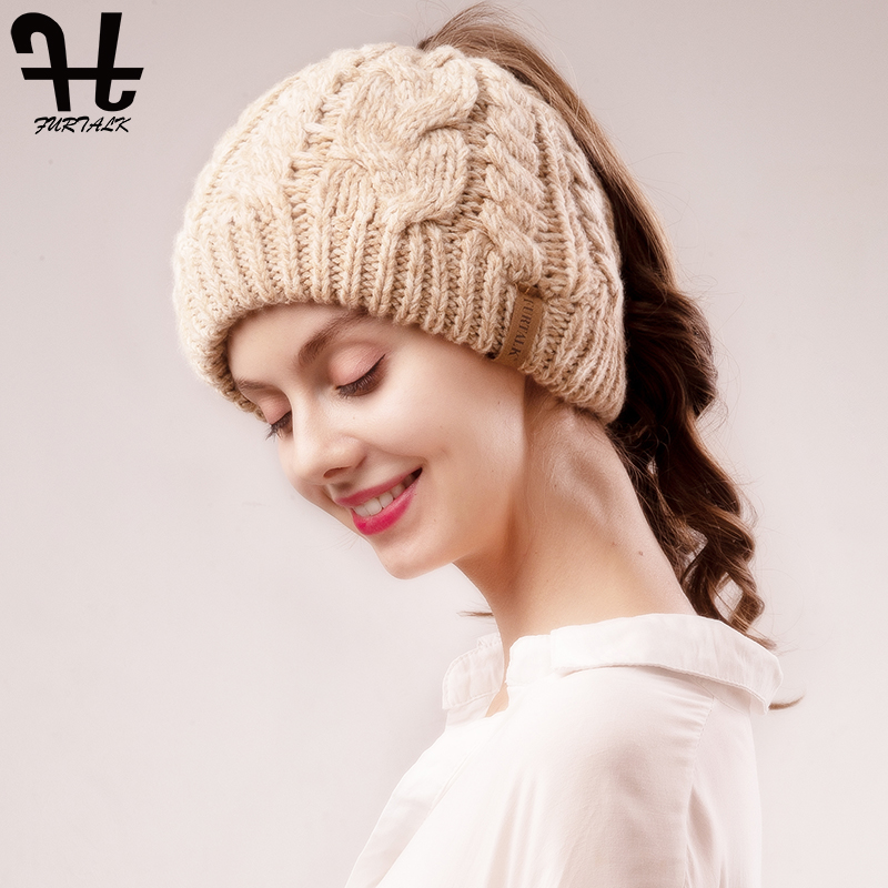 FURTALK Ponytail   Beanie   Hat Women Winter   Skullies     Beanies   for Kids Baby Female Knitted Winter Runner Messy Bun Ponytail Hat Cap