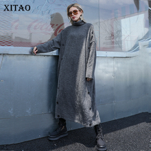XITAO Split Lange Gebreide Trui Mode Coltrui Straight Elegante 2019 Herfst Minderheid Stijl Vintage Knop Trui GCC2040