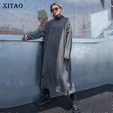 Длинный вязаный свитер с разрезом XITAO, элегантный прямой свитер с высоким воротником в винтажном стиле, на пуговицах, GCC2040, осень 2019