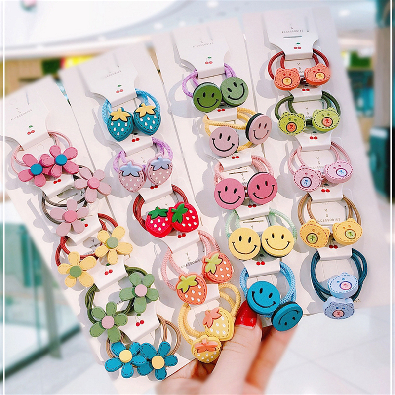 Cute Cartoon Hair Bands For Girls Fruit Headband Elastic Scrunchies Ponytail Holder Kids Hair Hoop Hair Rims Hair Accessories