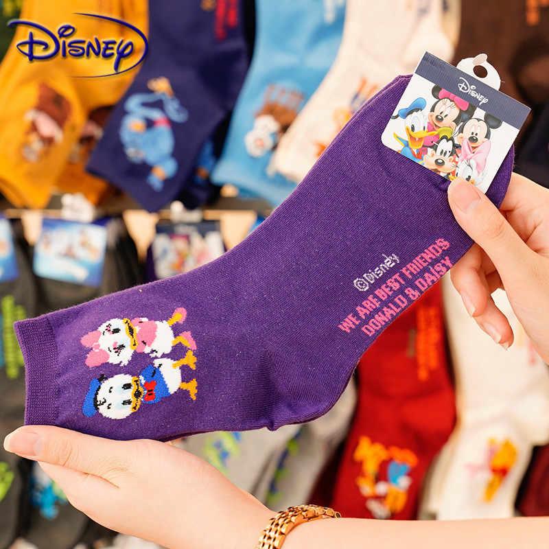 Disney Wanita Kasual Kaus Kaki Kartun Minnie Mickey Donald Duck Pola Kaus Kaki Winnie Beruang Di Dalam Tabung Kaus Kaki Katun
