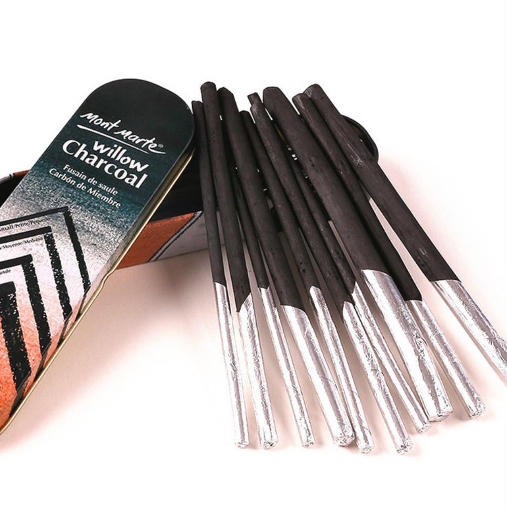10pcs/box Artist Charcoal Stick Willow Vine Charcoal Pencil Black Sketch Charcoal Sketch Pen Painting Drawing Art Supplies