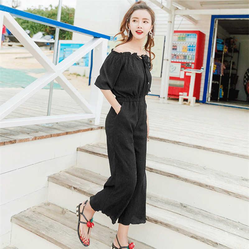 그리고 패턴 봄 새로운 가을 여자 솔리드 컬러 Jumpsuits 단어 칼라 strapless 주름 잡아 당김 9 분 다리 바지 XY75