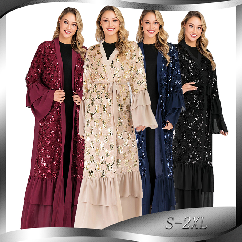 Pleated Sequin Open Abaya Kimono Muslim Dress Islam Clothing Abayas For Women Turkish Hijab Caftan Dubai Moroccan Kaftan Djelaba
