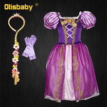 Girls Princess Rapunzel Dress Baby Summer Infant Girls Halloween New Year Carnival Costume Child The Tangled Role Playing Frocks(China)