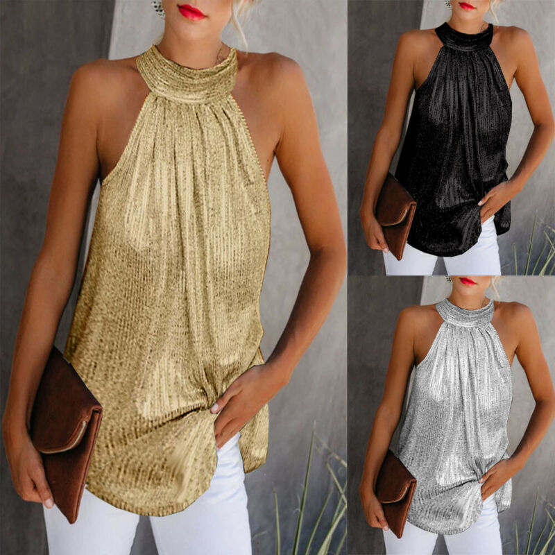 Women Glitter Tank Tops Sexy Female Sequined Halter Camisole Sleeveless Bling tops for Club party bodycon vest Girls Spaghetti