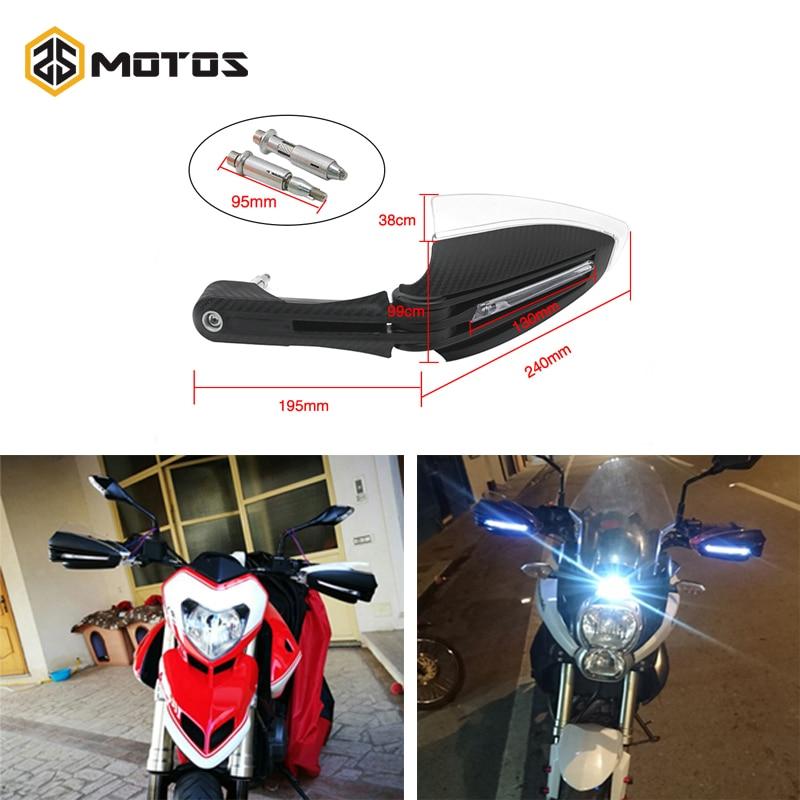 "ZS MOTOS 7/8"" 22mm Motorcycle LED handlebar Aluminum Motorcycle Hand Guards with LED Light Bike Universal Hand Protectors Motos(China)"