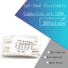 36Values 1pF-10uF Electronic Capacitor set 1206 SMD Ceramic Capacitor assortment kit 22PF 47PF 22NF 100NF 2.2UF 4.7UF Capacitors