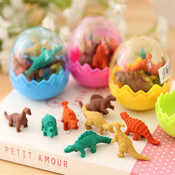 8 unids/pack Mini Goma de dinosaurio huevo goma caja de papelería de la escuela suministros de oficina Color al azar