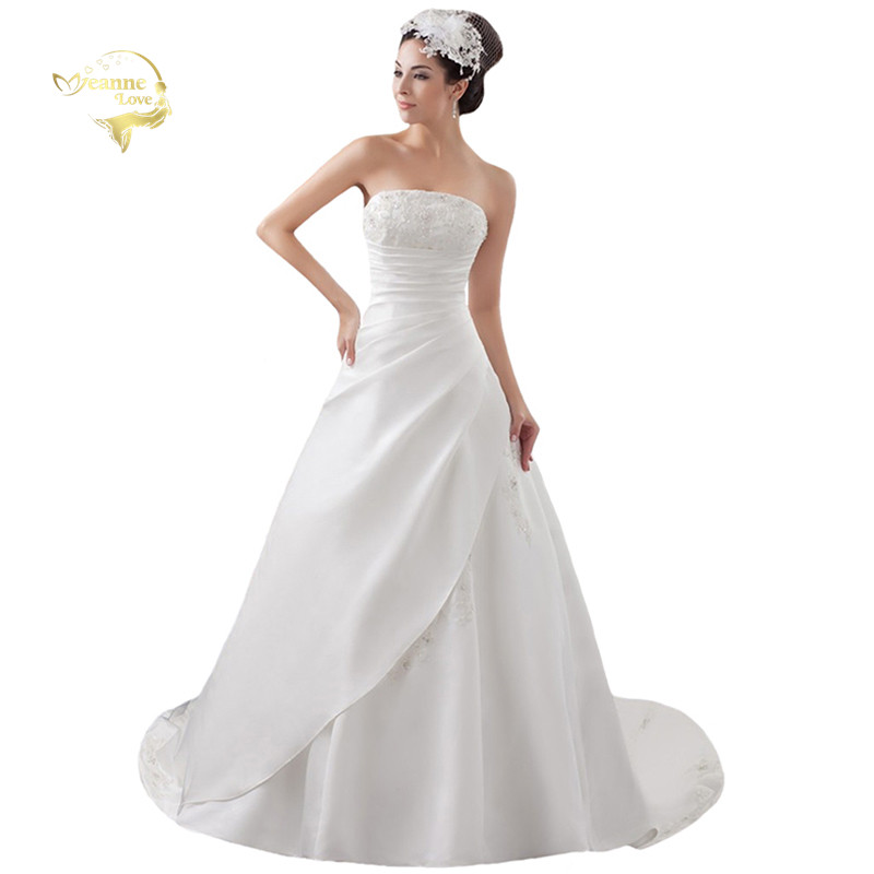 2019 White / Ivory Luxury Vestido De Noiva Robe De Mariage Bridal A Line Satin Applique With Train Wedding Dresses YN 9504