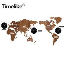Wall Clock DIY 3D World Map Large Wooden MDF Wood Watch Modern Design European Style Round Mute Relogio De Parede New