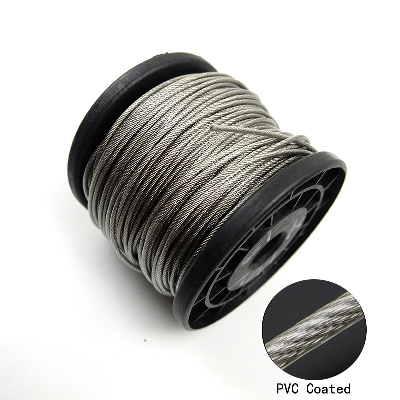 100 Meter 304 Stainless Steel 0 5 0 6 0 8 1 1 2 1 5 2mm Steel PVC Coated Flexible Wire Rope soft Cable Transparent Clothesline