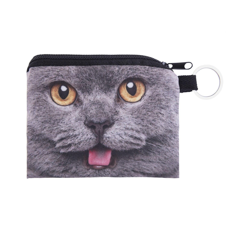 Zohra Cross Border AliExpress New Style 3D Digital Printing Gray Cat Purse Key Wallet Coin Bag Wallet