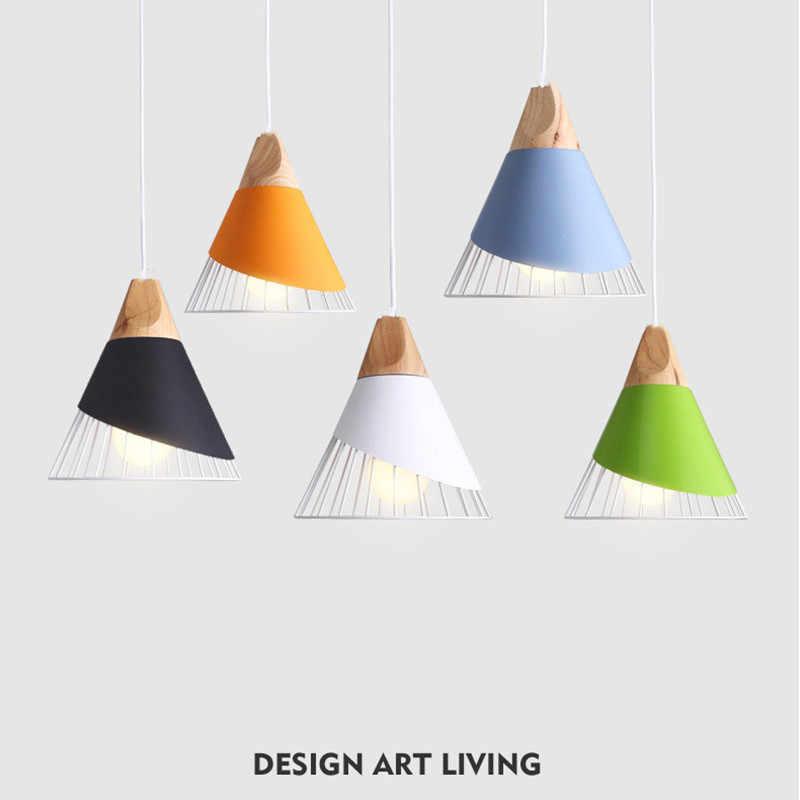 الشمال مصباح معلق قلادة خشبية مصباح للمنزل الإضاءة الحديثة الألومنيوم الملونة عاكس الضوء LED لمبة المطبخ جزيرة ضوء E27