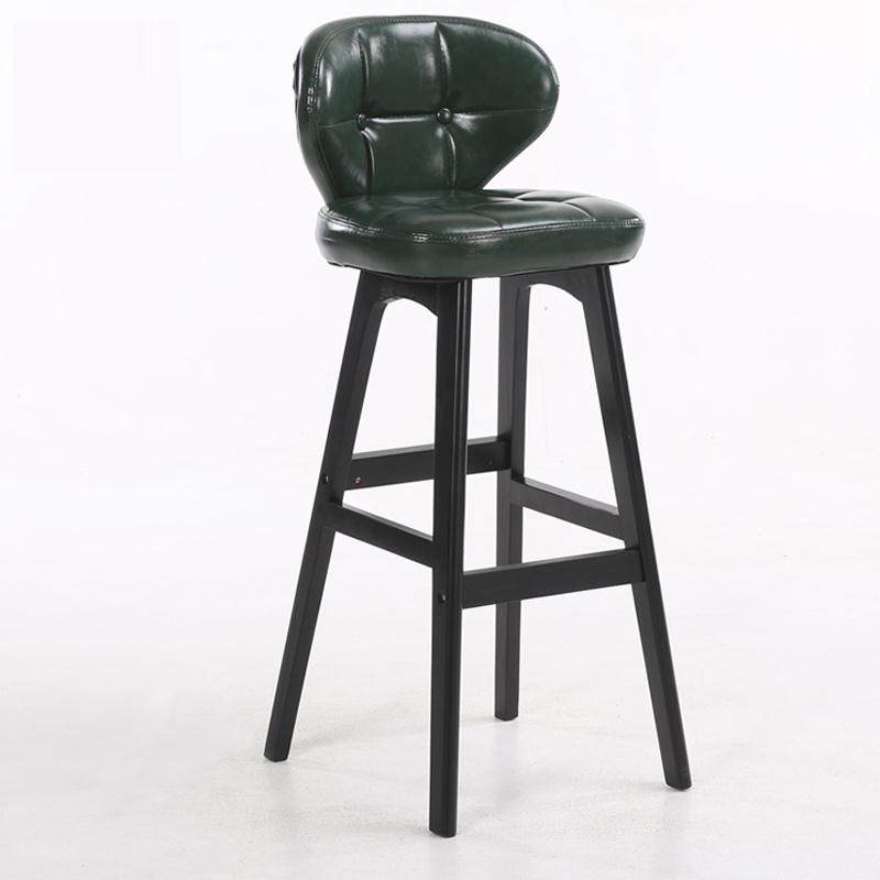 Solid Wood Bar Stool Modern Minimalist  Chair Backrest High    Front Desk Cashier   Home