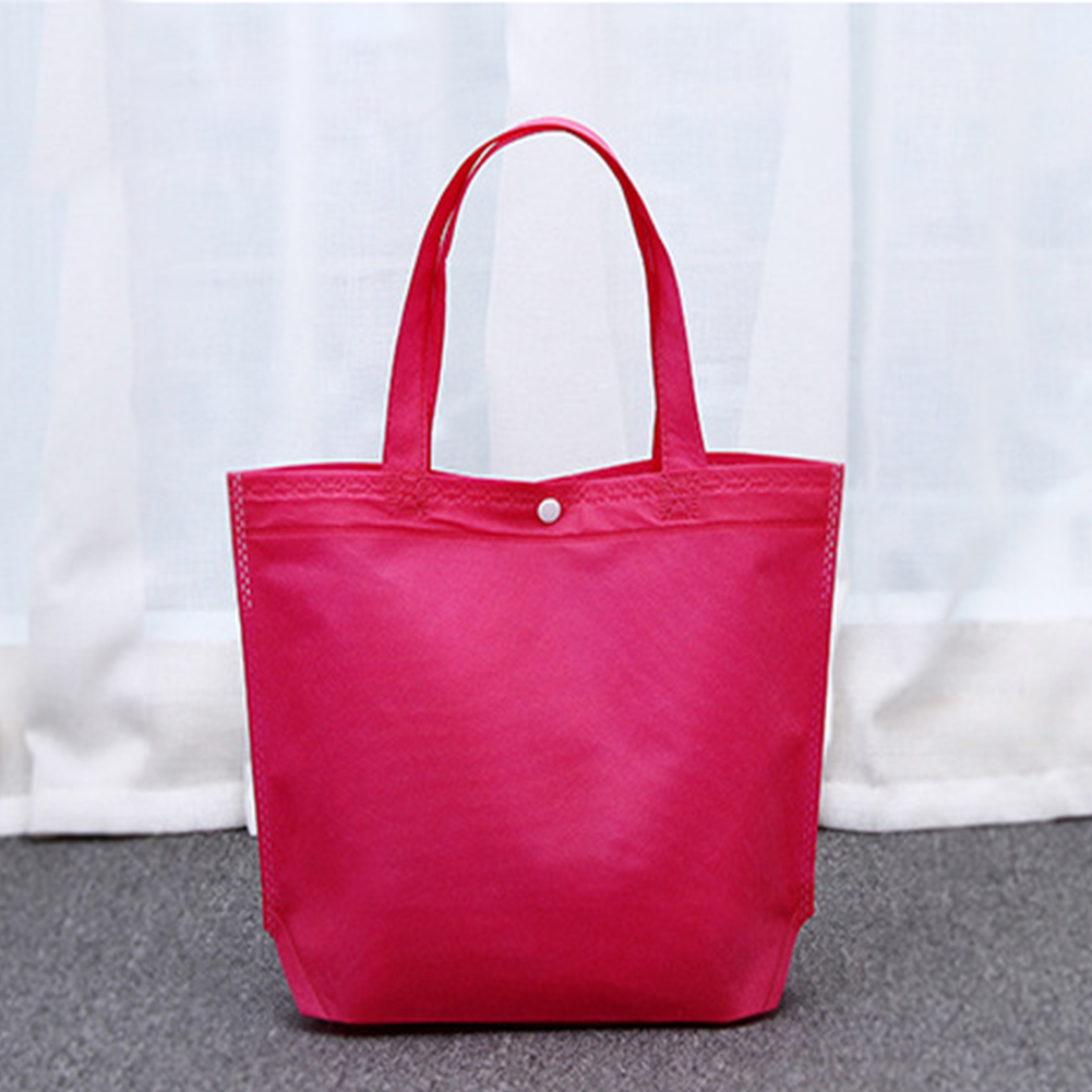 Foldable Button Shopping Bags Reusable Tote Pouch Women Casual Travel Package Storage Handbag Ad Custom High Quality Bags Blue