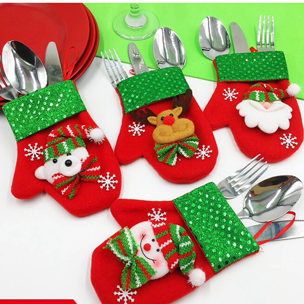 Santa Hat Reindeer Christmas New Year 2019 Pocket Fork Knife Cutlery Holder Bag Home Party Table Dinner Decoration Tableware