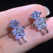 Cute Korean Earrings Figure Bling Zircon Stone Stud Earrings for Women Fashion Jewelry New Earrings 925 Silver Color big bling square zircon stone silver stud earrings for women korean earrings fashion jewelry 925 silver