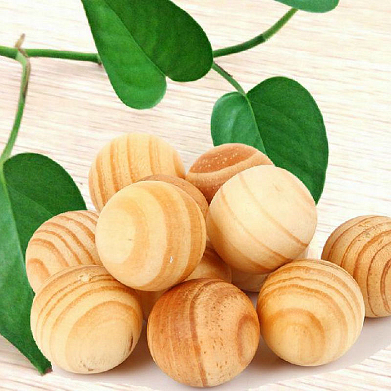 10pcs/pack Repellent Moth Balls Beads Natural Cedar Wood Bead Wardrobe Clothes Drawer Housekeeper 1.5cm Diameter(China)