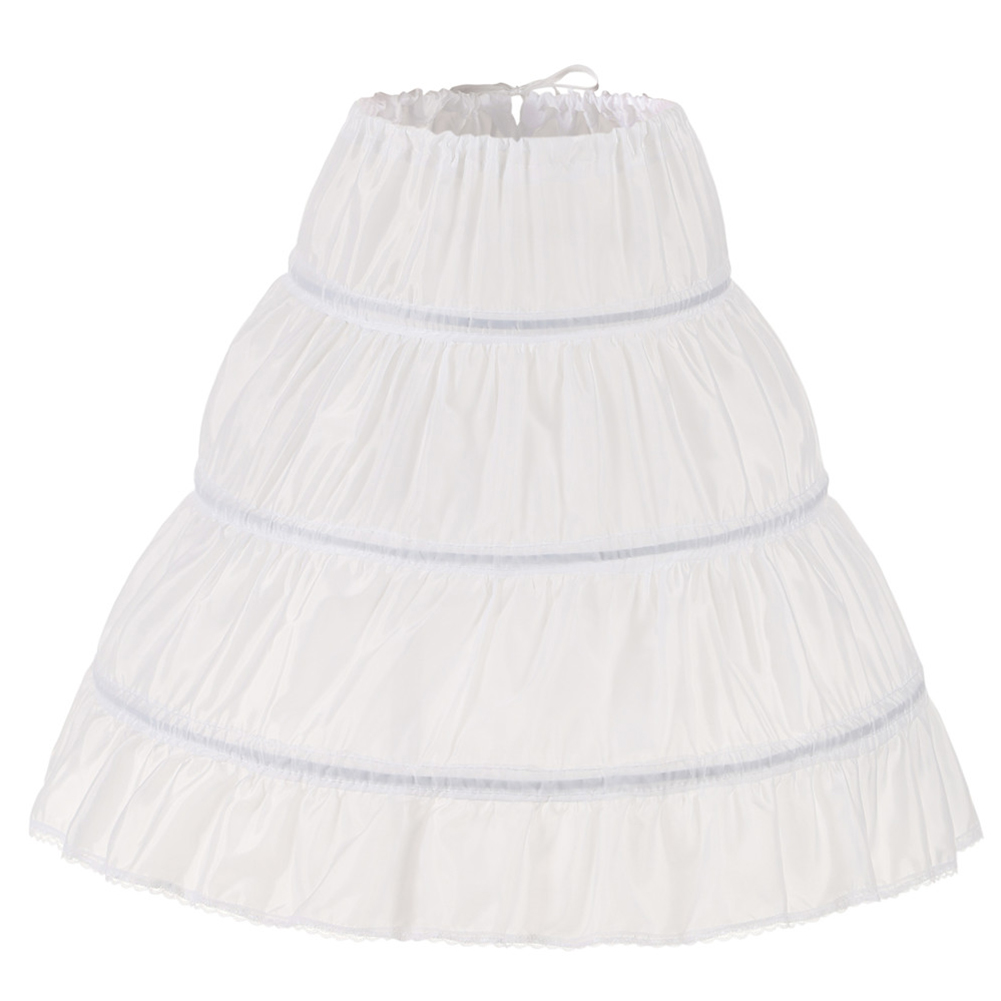 Dress Petticoat Crinoline Underskirt Lace-Trim Flower-Girl White 3-Hoops Children One-Layer
