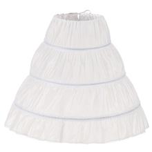 Dress Underskirt Petticoat Crinoline Lace-Trim Flower-Girl Elastic-Waist White 3-Hoops
