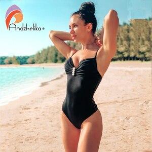 Image 2 - Andzhelika maillot de bain pour femmes, ensemble une pièce Sexy avec bretelles avec diamants, Push Up, couleur solide, Monokini, vêtements de plage, nouvelle collection 2020