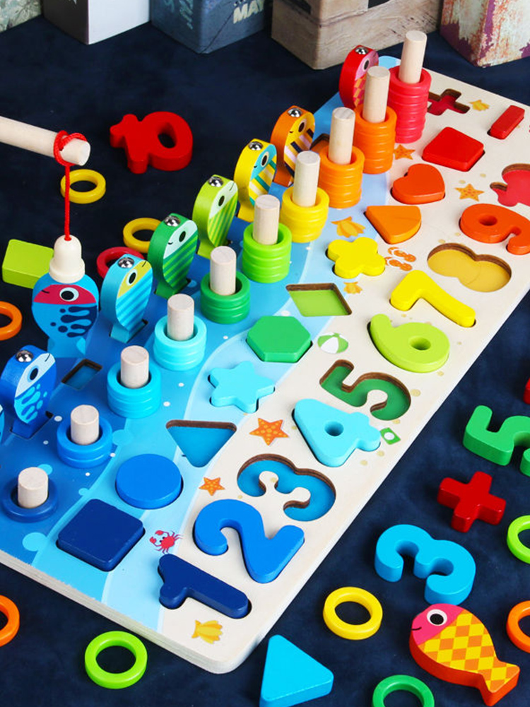 Montessori Educational Wooden Toys For kids Board Math Fishing Count Numbers Matching