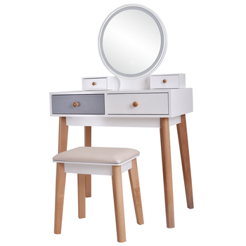 Real Wood Dressing Table Bedroom Decoration Furniture Makeup Table With Adjustable Three Color Light Home Wooden Dressing Table