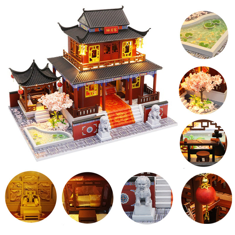 Wooden Doll House Furniture Chinese Palace Diy House Miniature  Puzzle Assemble 3D Miniaturas Dollhouse Kits Toys For Children
