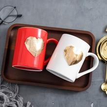 Emboss Heart Modern Beautiful Ceramic Mug with Lid Spoon Tea Milk Coffee Cup Home Office Drinkware Lovers Gift