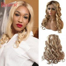 Cheap Loose Wave Lace Front Human Hair Wigs Highlights Blonde 13*6 Lace Frontal Curly Glueless Pre Plucked Wig For Black Women