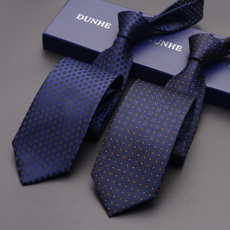 High Quality 2019 New Fashion Ties Men Business 8cm Stripe Deep Blue Silk Tie Wedding Ties for men Designers Brand with Gift Box