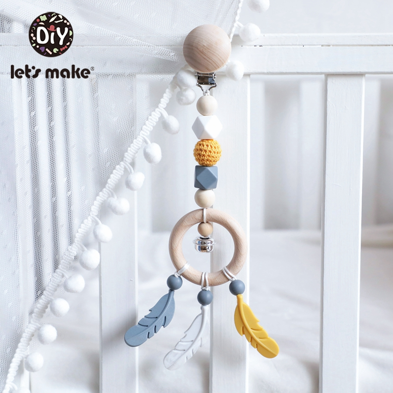 Let's Make 1pc Wooden Baby Toy Feather Cart Pendant Rattle Pacifier Clip Teethers Wooden Bell Baby Care Children's Toys For Kids