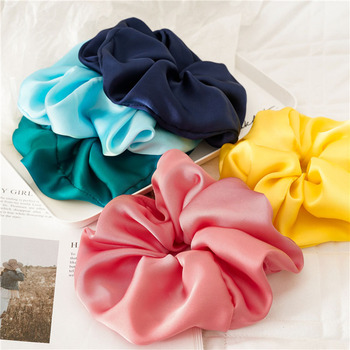 Oversized Rubber Band Candy Color Soft Silky Hairbands Elastic Ponytail Holder Hair Ties Smooth Satin Hair Rope Hair Accessories image