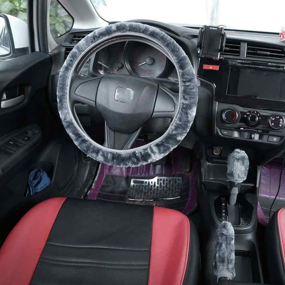 Proumhang New Style Winter Unisex Steering Wheel Covers Short Plush Non-slip Warm Car Handles Cover Black 38cm