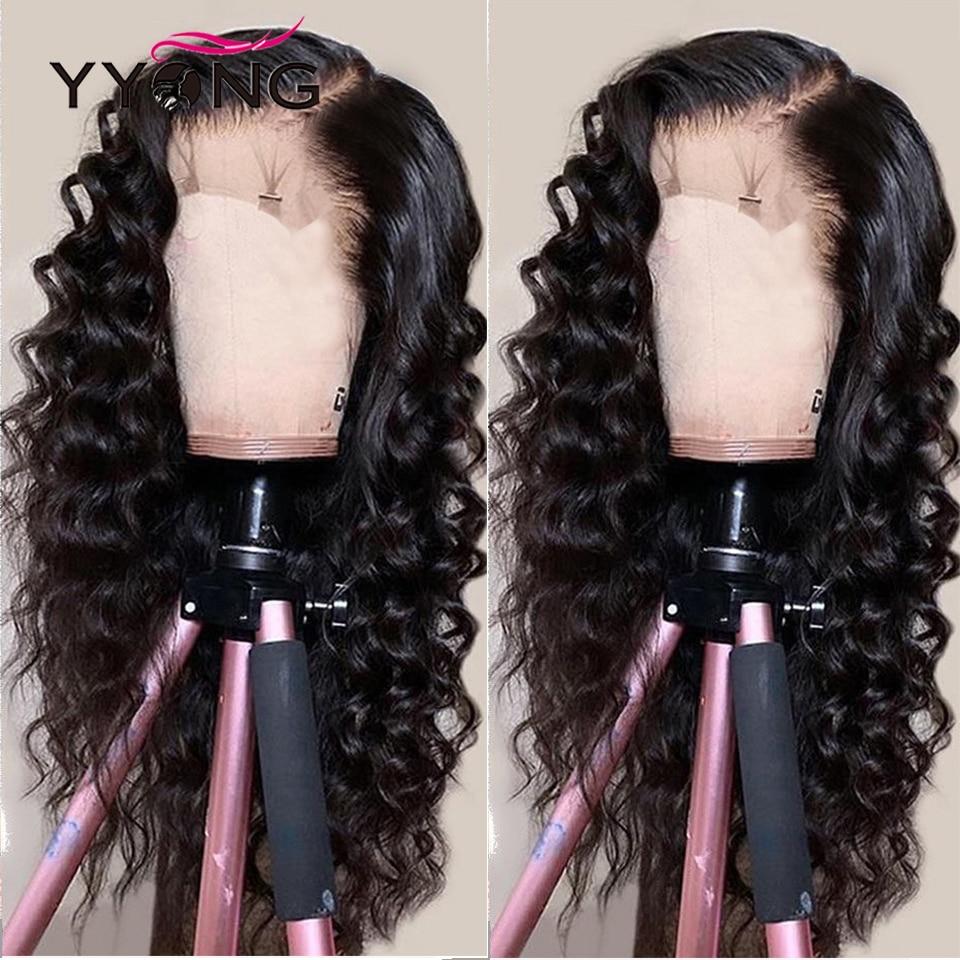 YYong 4x4 Lace Closure Wigs 32inch Long  Loose Deep Wave 1x6 Topline HD Transparent T Part Lace Wigs  Wig 1