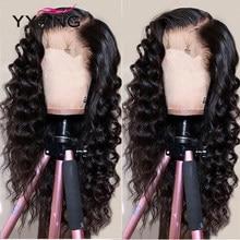 YYong 4x4 dentelle fermeture perruques 32 pouces longue péruvienne lâche vague profonde 1x6 Topline HD Transparent T partie dentelle perruques Remy perruque de cheveux humains