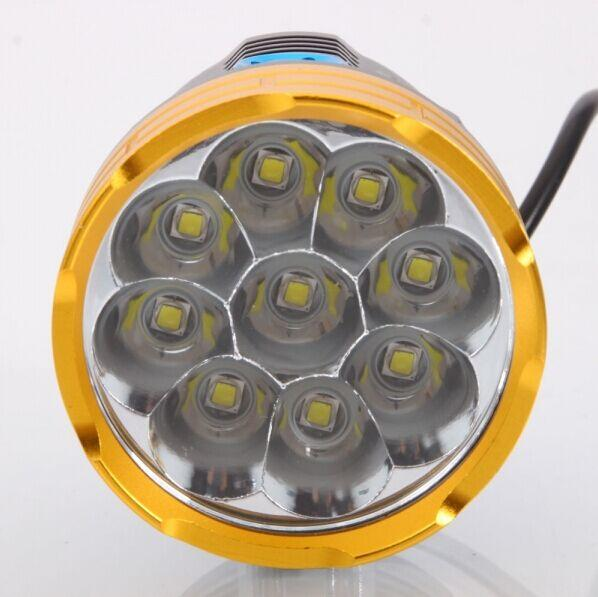 8.4V Wateprroof 9L2 18000 Lumens Cycling Helmet Bicycle Lamp 9 X XM-L L2 LED Bike Light & Headlight  Headlamp 3 Modes