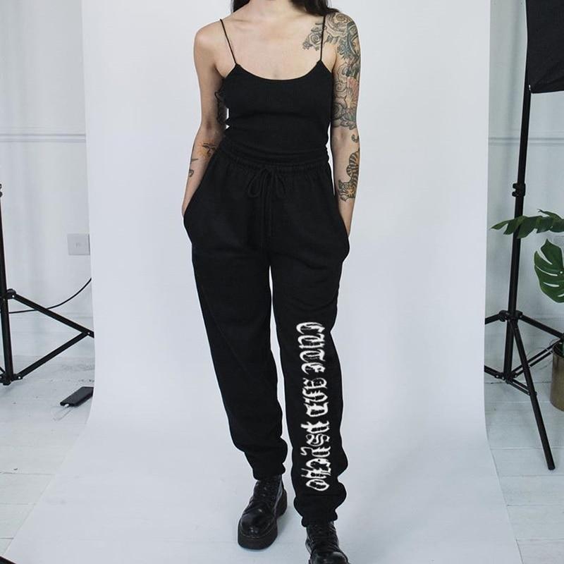 Rapwriter Fashion Side Stripe Letter Sweatpants Women 2018 Autumn Stretch High Waist Pencil Streetwear Cargo Jogger Pencil Pants