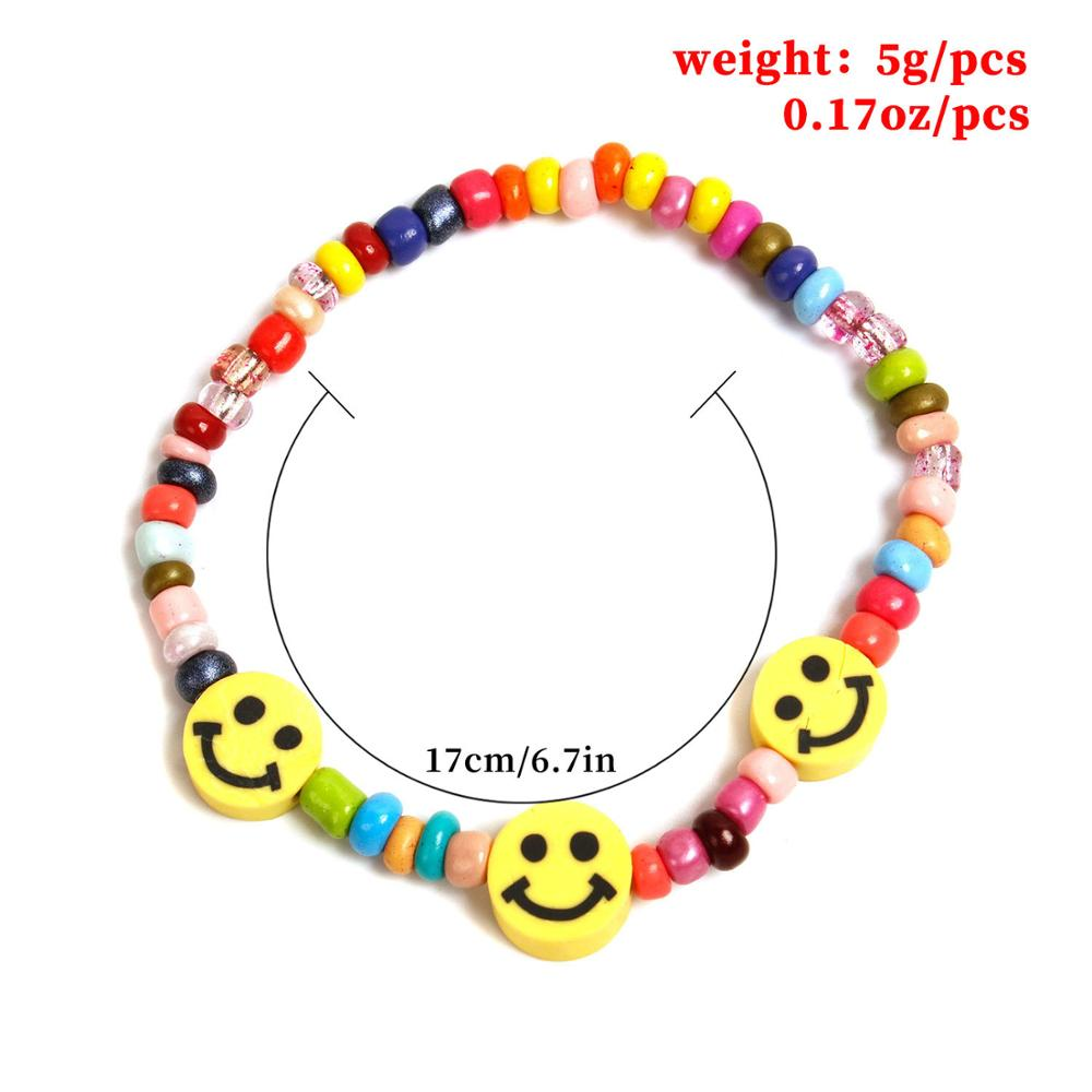 Boho Rainbow Color Beads Smile Face Beads Bracelets for Women Colorful Bead Chain Statement Bracelets Jewelry Collar Gift 2020
