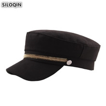SILOQIN Trend Autumn Womens Army Military Hats Elegant Retro Flat Cap For Women Golden Chain Decoration Fashion Lady Brands Hat